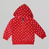 Girls Red Hearts Fleece Hoodie